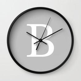 Silver Gray Basic Monogram B Wall Clock