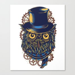 Steampunk Owl in Top Hat Gears Canvas Print