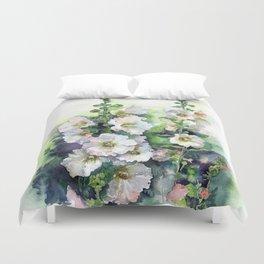 Watercolor Hollyhocks white flowers Duvet Cover