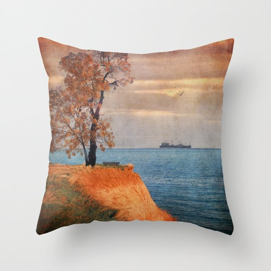 Autumn by the sea Throw Pillow