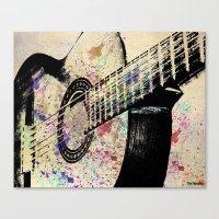 guitar Canvas Prints featuring Guitar by Del Vecchio Art by Aureo Del Vecchio