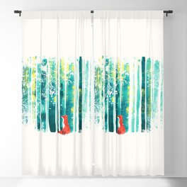 Fox in quiet forest Blackout Curtain
