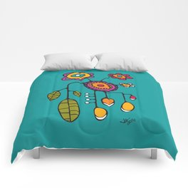 Flower Pot in Color on Teal Comforters