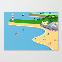 Lighthouse in a bay Canvas Print