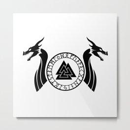 Norse Dragon - Valknut II Metal Print