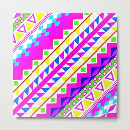 Acidic Neon | Neon Pink Teal Bright Girly Abstract Aztec Pattern  Metal Print