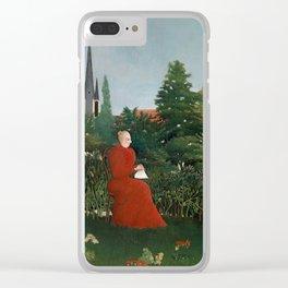 Portrait of a Woman in a Landscape - Henri Rousseau Clear iPhone Case