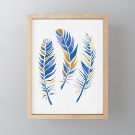 Watercolour Feathers - Navy and Gold Framed Mini Art Print