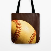 baseball Tote Bags featuring Baseball by Janice Sullivan