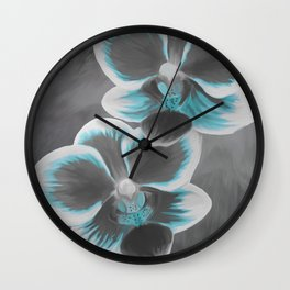 Orchids Teal Turquoise and Grey Wall Clock