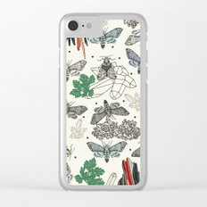 Moths and rocks. Clear iPhone Case