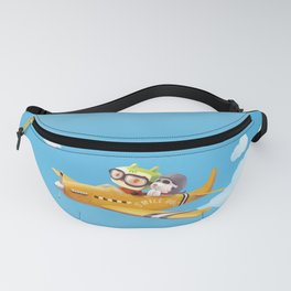 Little pilot and dog on a plane in the Sky Fanny Pack