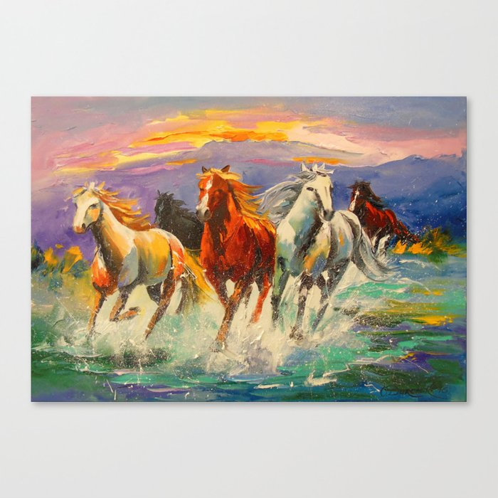 A herd of horses Canvas Print