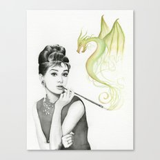Audrey Hepburn and Dragon Canvas Print
