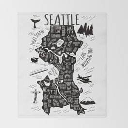 Seattle Illustrated Map in Black and White - Single Print Throw Blanket