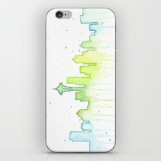 Seattle Skyline Watercolor Space Needle Painting iPhone & iPod Skin