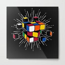 Rubik's Cube Game Color Square Apparel Metal Print