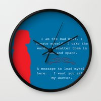 bad wolf Wall Clocks featuring Bad Wolf by Grace Thanda