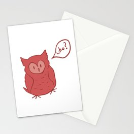 Fluffy Red Owl Stationery Cards