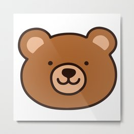 Brown Happy Bear Front Face Metal Print