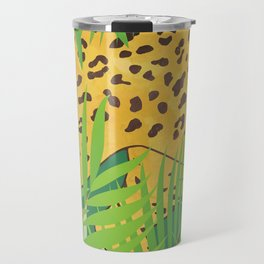 Leopard with tropical leaves Travel Mug