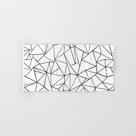 Abstract Outline Black on White Hand & Bath Towel