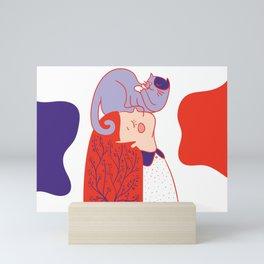 Girl with purple cat Mini Art Print