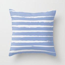 Irregular Hand Painted Stripes Light Blue Throw Pillow