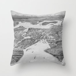 Vintage Pictorial Map of Seattle (1908) Throw Pillow
