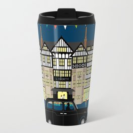 Art Print of Liberty of London Store - Night with Black Cab Travel Mug
