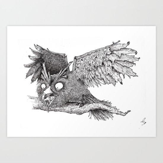 Woodland Owl Art Print