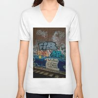 grafitti V-neck T-shirts featuring Grafitti Art by Lisa De Rosa-Essence of Life Photography