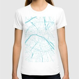Paris France Minimal Street Map - Turquoise Blue and White T-shirt