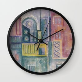 Colored buildings Wall Clock