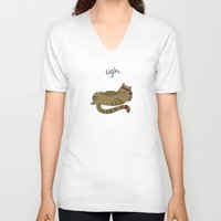 caleb troy V-neck T-shirts featuring Crunch Cat by Caleb Croy by UCO Design