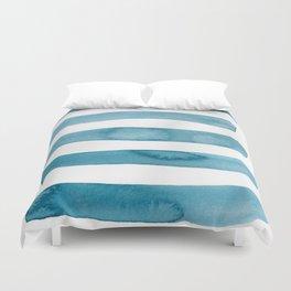 Aqua Stripes Abstract Modern Art Duvet Cover