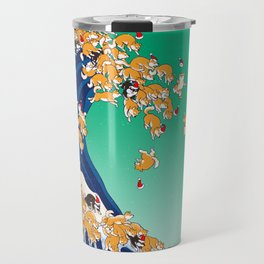 Christmas Shiba Inu The Great Wave Travel Mug
