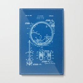 1963 Motorized Unicycle Patent - Blueprint Style Metal Print