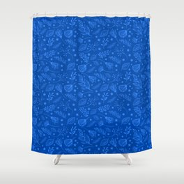 Cobalt Blue Leaf Pattern Shower Curtain