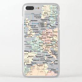 World Map Europe Clear iPhone Case