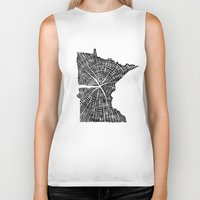 tree rings Biker Tanks featuring Minnesota Tree Rings by Wolf's Head Craftworks