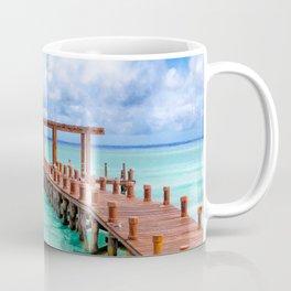 Beautiful Caribbean Sea Pier On The Beach At Playa del Carmen - Mexico Coffee Mug