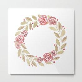 Red Rose Botanical Wreath Metal Print
