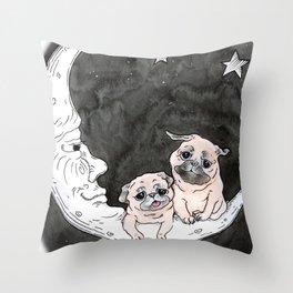 Paper Moon Pug Throw Pillow