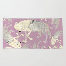 Totem Artic Wolf lilac Beach Towel