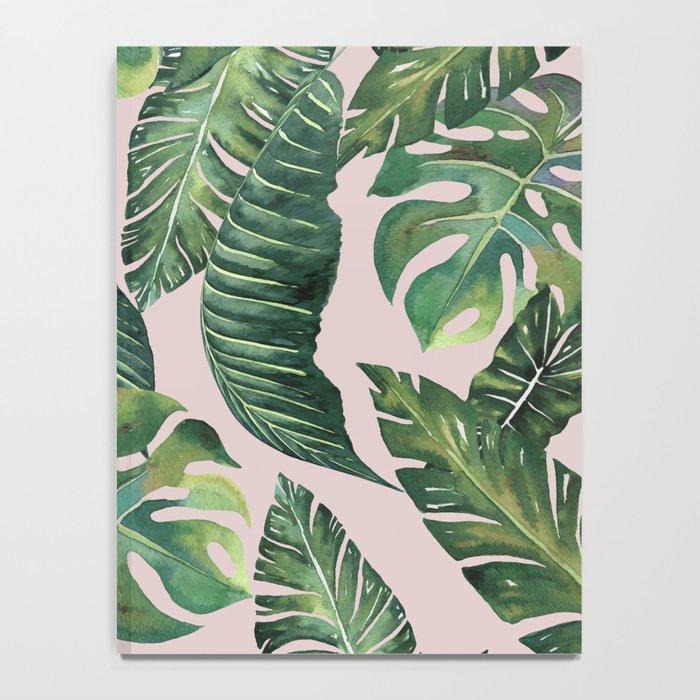 Jungle Leaves, Banana, Monstera Pink #society6 Notebook