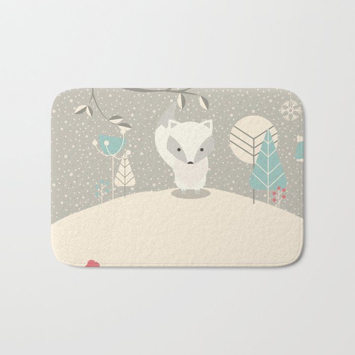 Christmas baby fox 07 Bath Mat