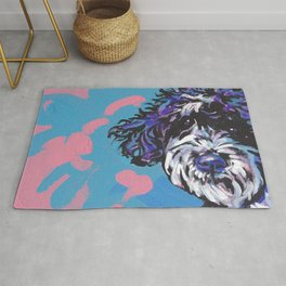 PWD Portuguese Water Dog Fun bright colorful Pop Art Dog Paintingby Lea Rug