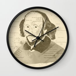 Portrait of William Shakespeare-Hand drawn-Vintage Wall Clock