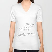 poem V-neck T-shirts featuring word poem by Andy Warhola